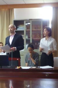 = 2018, Defending my master thesis with my translator Fu Danqin, Zhejiang Chinese Medical University, Hangzhou, China